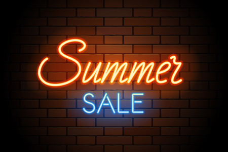 Red and blue vector neon lights uppercase signs summer SALE. Illustration transparent on realistic brick wall.