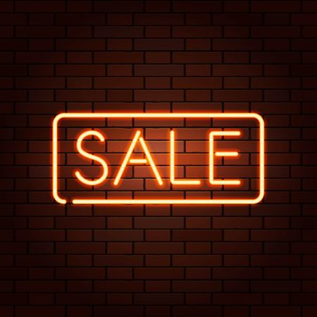 Red vector neon lights uppercase signs SALE. Illustration transparent on realistic brick wall.