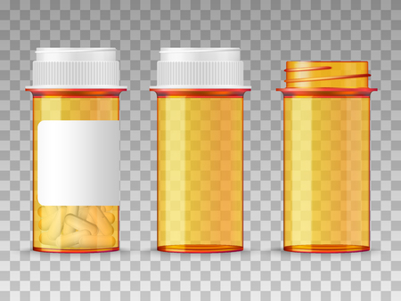 Realistic vector medical orange pills bottle isolated on transparent background. Empty closed, opened, and with a blank label prescription medicine tablets. Vectores