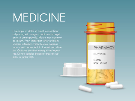 Realistic vector medical orange pills bottle with a blank label prescription medicine tablets. Ads template mockup banner