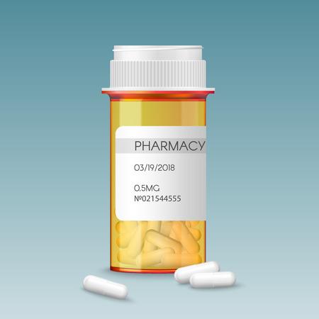 Realistic vector medical orange pills bottle with a blank label prescription medicine tablets. Ads template mock-up banner. 일러스트