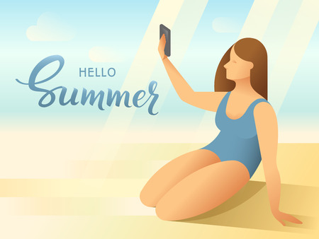 Body positive female young woman in bathing suit taking a self picture with smartphone on tropical beach background.