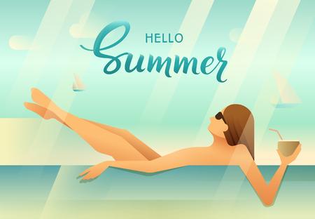 Woman enjoying sunbathing having good time in swimming pool and holding coconut in hand. Hello Summer handmade lettering Vector illustration