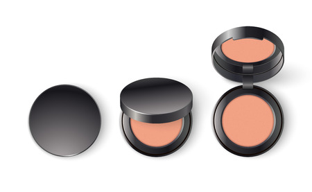 Ads template mockup realistic cosmetic makeup cheek blush compact or face concealer powder in black a pack on a white background.  イラスト・ベクター素材