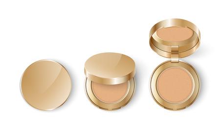 Anzeigenvorlage Modell realistische kosmetische Make-up Wange erröten kompakt oder Gesicht Concealer Pulver in Gold eine Packung auf einem weißen Hintergrund.