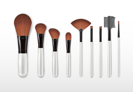 Set of vector realistic professional cosmetic makeup brushes with light handles isolated on white Background. Concealer powder blush eye shadow brow brown brushes
