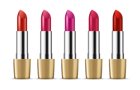 Ads template mockup realistic makeup cosmetic set of color lipsticks. Fashion Colorful Lipstick on white background.