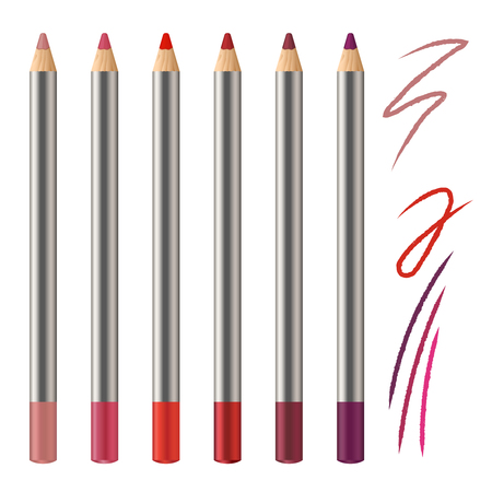 Realistic vector set of lip pencil mockup. Decorative cosmetic colored pencils. Red, pink, magenta color Cosmetic pencil strokes.