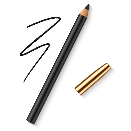 Realistic vector eyes pencil for beautiful makeup. Decorative cosmetic black eyeliner with golden cap and dark pencil strokes.