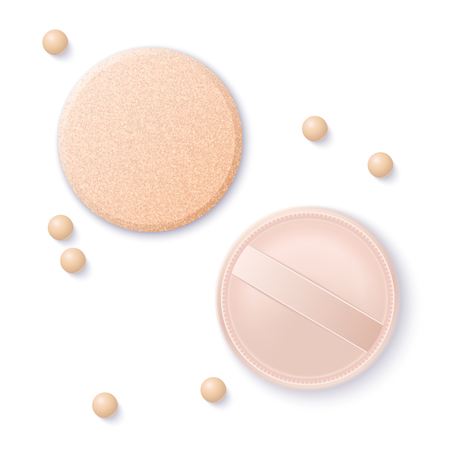 Realistic vector foundation cushion and sponge for beautiful makeup. Decorative cosmetic beige pearl make up powder.