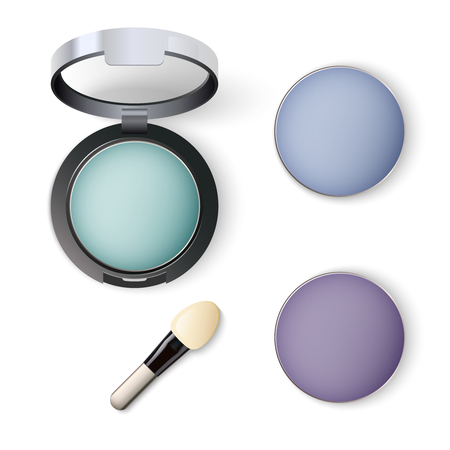 Realistic vector assorted colors palette of cosmetic eye shadow blue shades with a brush for application isolated on white background.