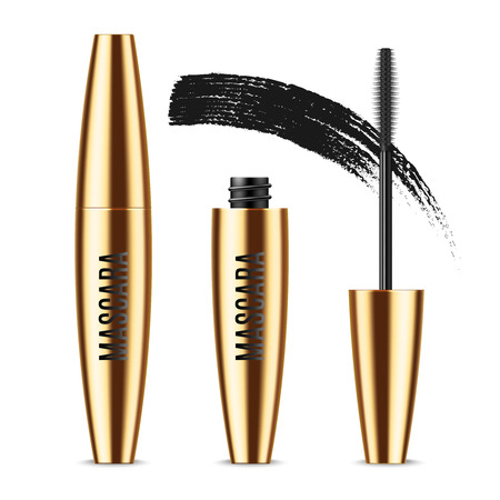 Realistic vector golden Mascara Bottle, brush and mascara Brush Strokes. Black wand, strokes and tube Isolated on white background. Fashionable cosmetics Makeup for Eyes. Vettoriali