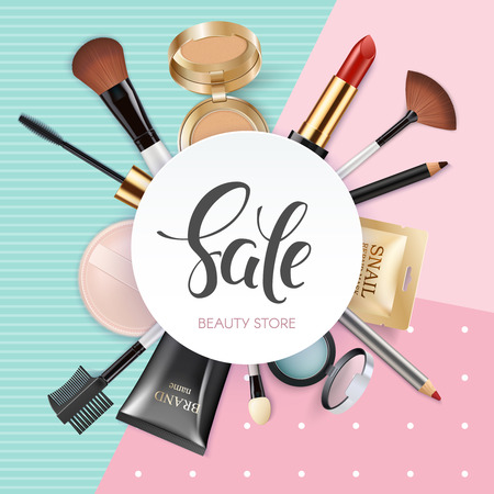 Makeup template beauty store with collection of realistic beauty decorative cosmetics and makeup tools beauty. Powder, concealer, eye shadow brush, blush, foundation, lipstick, eyeshadow. 写真素材 - 103012983