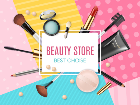 Makeup template beauty store with collection of realistic beauty decorative cosmetics and makeup tools beauty. Powder, concealer, eye shadow brush, blush, foundation, lipstick, eyeshadow.