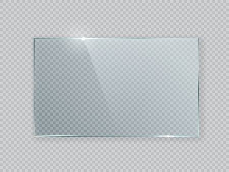 Geometric abstract glass rectangle design element with transparency. Vector illustration