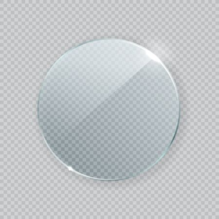Round vector glass frame. Isolated plate on transparent background. Realistic texture with glares and light
