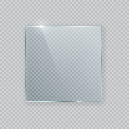 Square vector glass frame. Isolated plate on transparent background. Realistic texture with glares and light 写真素材 - 142823557