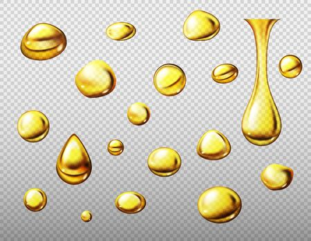 Set of realistic gold or yellow oil drops. Vector illustration isolated on transparent background Illustration