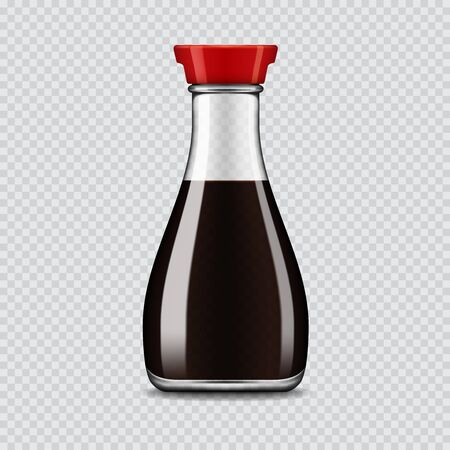 Realistic vector soy sauce glass bottle isolated on transparent background Illustration