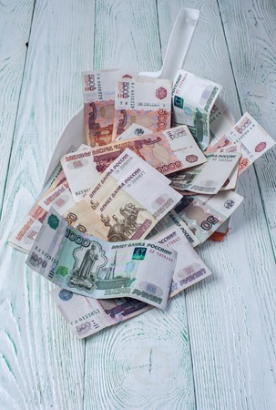 cleaning debt: Rubles in garbage scoop on wooden background. Financial theme. Vertical view.