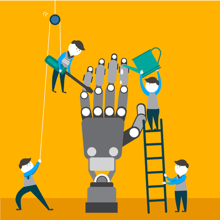 checking: Engineers are making and checking robotic arm. Robotics engineering, industry automation. Flat illustration.