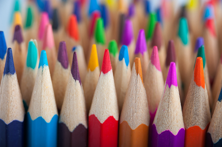 Assortment of multicolored wooden pencils Stock Photo