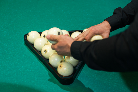 Playing billiard background, white balls on table