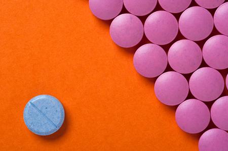 Group of medicine pills, top view