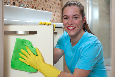 Charming woman doing cleaning