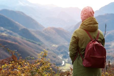 Woman looks at the beautiful hills Banco de Imagens