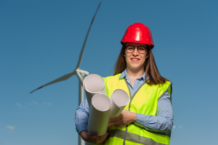 Concept of engineers and windmills