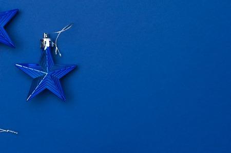 Christmas decoration stars on blue background