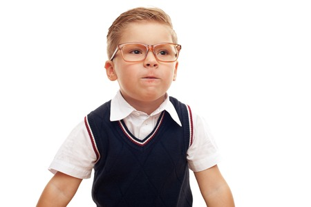 Little clever boy in shirt and glasses