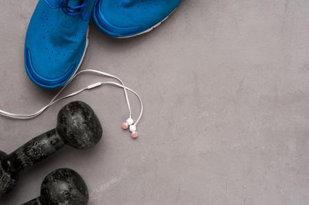 Sports and fitness equipment flat lay. 版權商用圖片