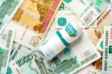 Russian rubles background
