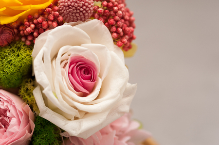 Close up of pink bouquet made of hydrangea