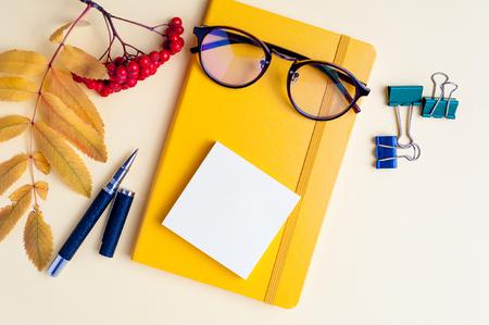 Nahaufnahme Collage von Brillen mit Bürokram Standard-Bild