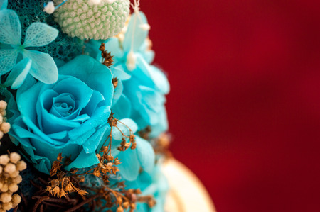 Close up of blue bouquet made of hydrangea