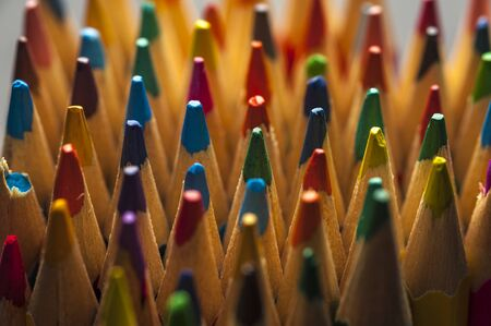Close-up top of colored sharpened pencils Stok Fotoğraf