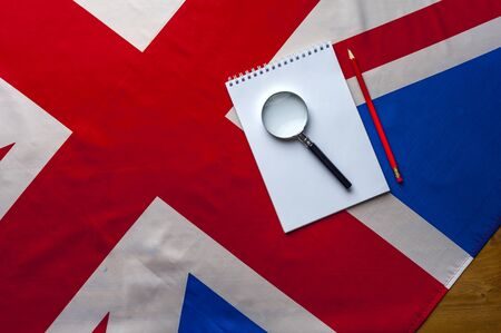 Top view flag of United Kingdom with notepad Stok Fotoğraf