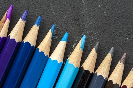 Close-up bright sharpened pencils of blue shades Stok Fotoğraf