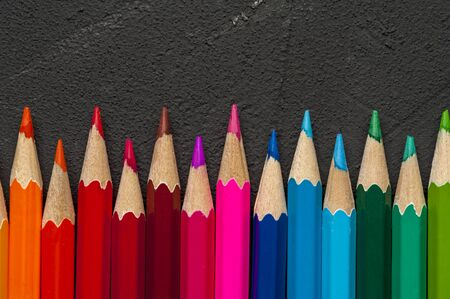 Close-up of multicolored sharpened pencils Stock Photo
