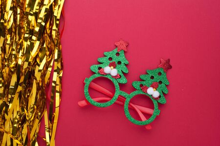 Funny eyeglasses in the form of Christmas tree