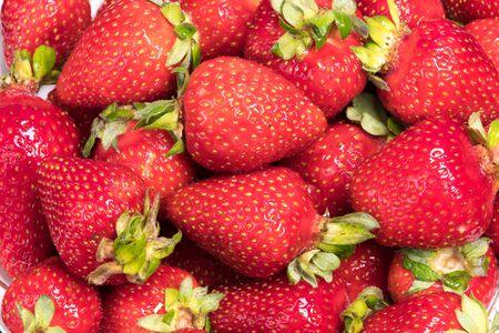 Close-up Macro Red Ripe Juicy Strawberries.