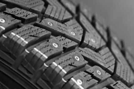 Fragment of a car studded tire