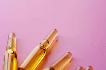 Close-up glass ampoules with medicine