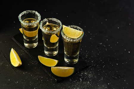 Mexican Gold Tequila with lime slices and salt, top view