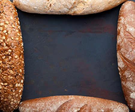 Bread background. Freshly baked assortment of bread.