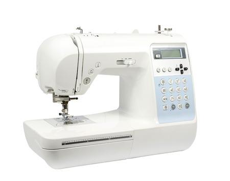 Moderna macchina per cucire elettronica su uno sfondo bianco. Archivio Fotografico - 33446599
