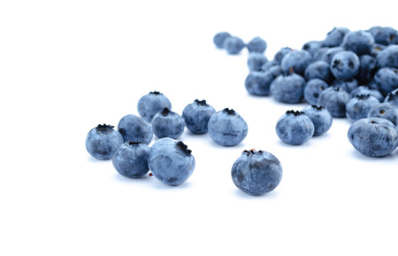 Large beautiful blueberries isolated on white background